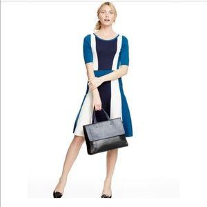 Boden Milano Blue White Colorblock Dress Size 2R